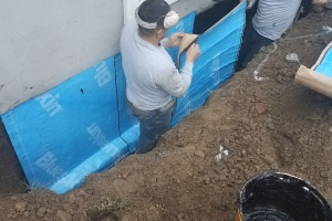 Exterior waterproofing - applying rubber membrane | Eco-Dry Waterproofing