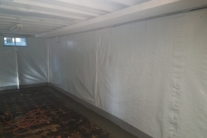 Poly membrane on the wall, mold remediation - includes french drain system | Eco-Dry Waterproofing